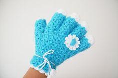 Blue  Glove shaped shower wash cloth / bath scrubbies by NesrinArt, $18.00