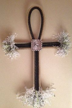 SOLD! but can make similar  Hand crafted lariat rope cross wall decor with praying cowboy concho  $28.00