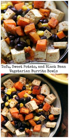 Easy vegetarian burrito bowls – who needs Chipotle when you can make these healthy and delicious tofu, sweet potato, and black bean carnitas at home!