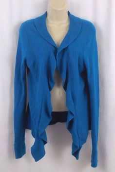 Charter Club Womens S 2 Ply 100% CASHMERE Turquoise Blue Shrug Sweater…