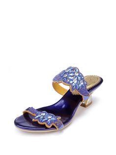 #AdoreWe #StyleWe Slippers - Designer G-sparrow Blue Summer Spool Heel Rhinestone Slippers - AdoreWe.com