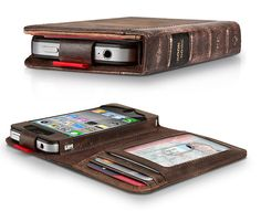 iPhone wallet/case...it looks just like an old leather-bound book!    Oh yeah!!! I need this for all the apple devices. They need to match beautifully. Phone Cover, Book Phone Case, Iphone Wallet Case, Iphone Cases, Diy Wallet, Iphone Holder, Macbooks, Bound Book, Leather Phone Case