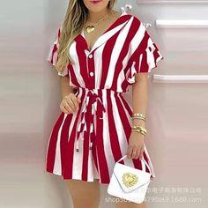 Cheap Dresses, Casual Dresses, Fashion Dresses, Short Sleeve Dresses, Dresses For Work, Striped Shirt Dress, Ruffle Shirt, Dress Shirts For Women, Clothes For Women