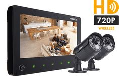 720p Wireless Video Surveillance System for home, 2 outdoor cameras with audio and 65FT night vision