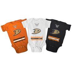 Infant Anaheim Ducks Old Time Hockey White/Black/Orange 3-Pack Beeler Creeper Set