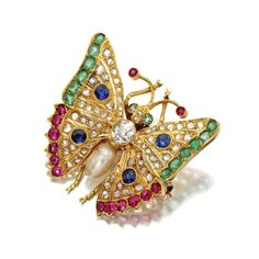 Diamond and colored stone butterfly brooch The body set with an old European-cut diamond weighing approximately .75 carat and with a baroque cultured pearl, the wings set with rose-cut diamonds and various colored stones including round and cushion shaped rubies, emeralds and sapphires, mounted in gold.