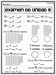 Examen de valor posicional and a lot of other great place value resources in Spanish - seriously check this out!! So much great math stuff for a bilingual or dual immersion classroom