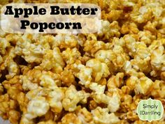 A recipe using Apple Butter to create popcorn covered in an Apple Butter Syrup. Popcorn Snacks, Candy Popcorn, Flavored Popcorn, Butter Popcorn, Gourmet Popcorn, Popcorn Recipes, Snack Recipes, Cooking Recipes, Popcorn Shop