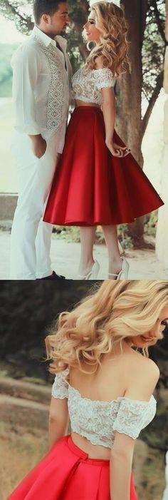 Red Prom Dresses, Prom Dresses 2017, Short Prom Dresses, Two Piece Prom Dresses, 2017 Prom Dresses, Prom Dresses Short, Homecoming Dresses Short, Short Homecoming Dresses, Red Homecoming Dresses, Homecoming Dresses 2017, Two Piece Dresses, 2017 Homecoming Dress Tea-length Short Sleeve Short Prom Dress Party Dress