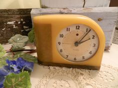 Vintage Moonbeam Westclox Alarm Clock Celluloid Butterscotch Mid Century by allthatsvintage56 on Etsy
