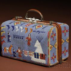 Rare 19th century beaded suitcase - Lakota Tribe:  http://jacarandatribal.blogspot.com/2010/05/skinner-holds-american-indian.html?m=1