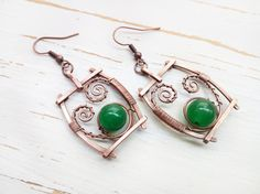 Green dangle earrings Casual hand forged by MargoJewelryHandmade