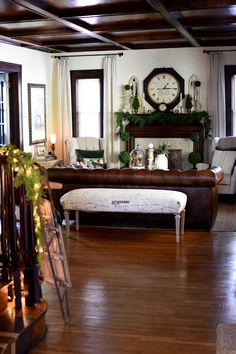 "Hello friends and welcome to our cozy ""wintergreen"" home! Even though the weather around here has been unbelieveably spring-like so. Antique China Cabinets, Antique Sideboard, Faux Fireplace Mantels, Green Velvet Pillow, Brown And Grey, Gray, Cottage Living Rooms, Cozy Corner, Room Tour"