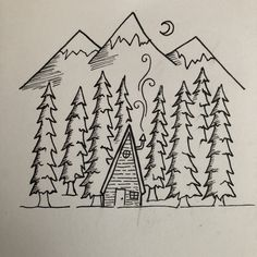 Black and white pen drawing. Mountains, snow, moon, night, f Forest Drawing Easy, Mountain Sketch, Mountain Drawing, White Pen, Black And White Drawing, Black Pen Drawing, Pencil Drawings Of Girls, Easy Drawings, Pencil Drawings