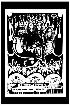 Ozzy Osbourne & Black Sabbath at Miami Beach Convention Hall Concert Poster 1972 | eBay