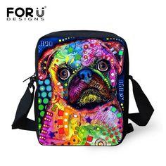 FORUDESIGNS Women Messenger Bags Colorful Animal Printing Shoulder Bag Girls Cross Body Bag Pet Dog Cat Messenger-Bag For Woman