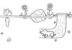 animales bajo tierra dibujo - Buscar con Google