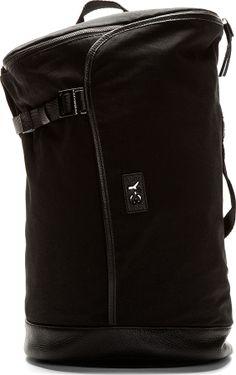 Y-3 Black Pebbled Leather & Canvas Messenger Bag on shopstyle.com