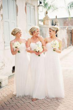 Soft shades of ivory, cream and white take any bridesmaid dress and make it even more lovely than ever imagined.   - HarpersBAZAAR.com