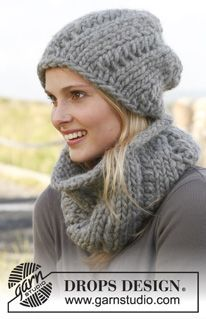 """Sweetness - Knitted DROPS hat and neck warmer with lace pattern in """"Polaris"""". - Free pattern by DROPS Design"""