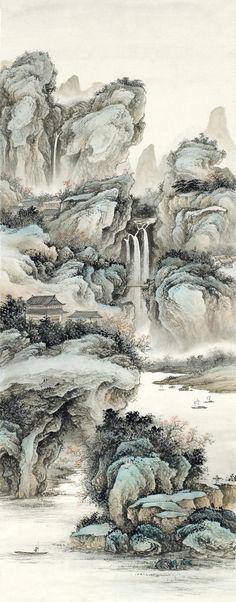 Chinese Landscape Painting, Landscape Drawings, Chinese Painting, Landscape Paintings, Japanese Tattoo Art, Japanese Art, Waterfall Paintings, Art Chinois, Art Japonais