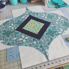 A little progress on my second block. Just needs some corners. #quickcurveruler #sewkindofwonderful #moroccanvibequilt #amybutlerfabric