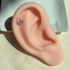 Piercing Helix, Tragus Piercings, Conch Jewelry, Pink Moonstone, Gold Studs, Silver Color, 1 Piece, Rose Gold, Flower