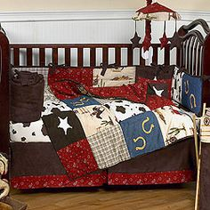 Cowboy Decor for Baby Boy  http://www.babybeddingzone.com/wild-west-9-piece-crib-set/