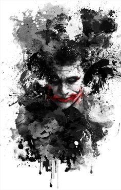 Water-color, minimalist poster of the Joker by Benjamin Cehelsky.