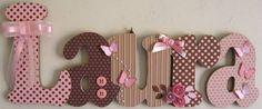Nome decorado em MDF e Scrap personalizado para decoração de quarto, porta maternidade, festas... Tema e cores a sua escolha R$ 68,64
