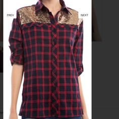 Pre order Plaid button down shirt with glitter detail. Sizes small, medium, and large Tops Button Down Shirts
