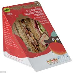 Marks & Spencer's introduces 785 calorie triple-pack sandwich for Christmas. The first 'course' is smoked salmon with cucumber and dill; the second is turkey with pork and chestnut stuffing and smoked bacon; and to finish there is a sandwich filled with brie, grapes and chutney.