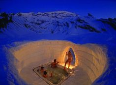 Igloo village, Switzerland...don't think there is anything so hot and so cold at the same time