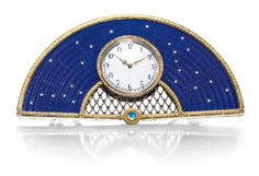 A Fabergé jewelled silver-gilt and blue guilloche enamel clock, workmaster Michael Perchin, St Petersburg, 1895-1899