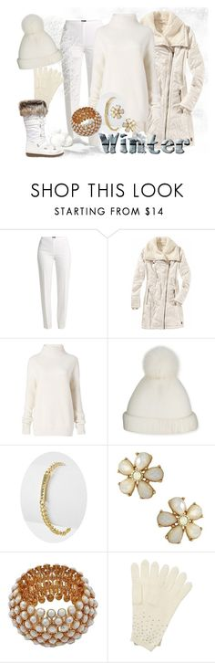"""""""White Out"""" by shoppe23 ❤ liked on Polyvore featuring Basler, Title Nine, Diane Von Furstenberg, Yestadt Millinery, Pure Collection, Moon Boot, StreetStyle, Christmas, winterfashion and wintersweater"""