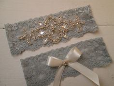 Silver Wedding Garter Set Silver Lace Garters by GibsonGirlGarters