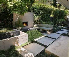 Nice fire place area. Pinned to Garden Design by Darin Bradbury.