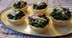 Tartellette di spinaci, piselli e pecorino