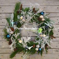 Kerstkrans kerst decoratie Lemmer  Blauw kerstbal paddestoel winter