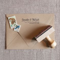 Serif & Swirls Address Stamp from the chatty press - a modern address stamp for weddings and every day mail