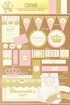 kit imprimible gratis princesas - Buscar con Google Baby Shower Princess, Princess Birthday, Princess Party, Balloon Decorations, Birthday Decorations, Minnie Golden, 1st Birthday Parties, Happy Birthday, Imprimibles Baby Shower