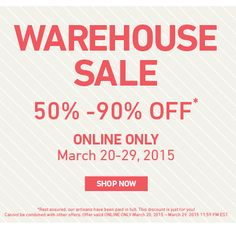 Our Huge Online Warehouse Sale starts today! Shop discounts of Off! Sale 50, Warehouse, Shop Now, Just For You, Shopping, Magazine, Storage Room, Syllable, Container Homes