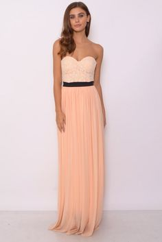 Image for Cream And Peach Bustier Maxi Dress