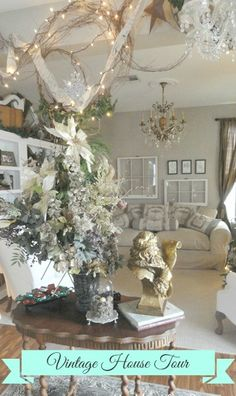 Holiday Open House Tour~ Beautiful home with vintage decor touches.