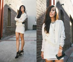 Get this look: http://lb.nu/look/5068516  More looks by Jenny Ong: http://lb.nu/neonblush  Items in this look:  Vs Lace Crew, Line & Dot Sheer White Skirt, Shoe Mint Heels   #neonblush