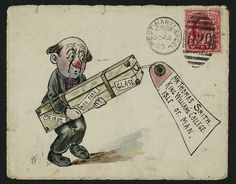 Hand Illustrated and Later Printed Envelopes: 1903 (Oct. 22nd) amusing and finely executed envelope from the Smith correspondence depicting a red-nosed gentleman struggling with a trunk, sent from West Hartlepool to the Isle of Man with KE VII 1d., some edge imperfections. Ex Shaida.