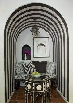 striped reading nook
