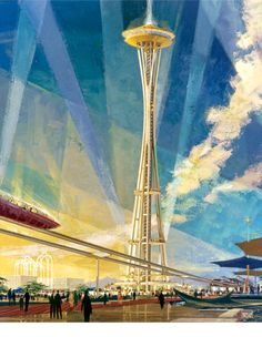 Original concept illustration from the 1962 Worlds Fair in Seattle | Source: World's Fair promotional brochure and Earle Duff