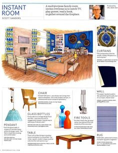 """In House Beautiful's """"Instant Room,"""" designer Scott Sanders featured Kabuki Suede 4321 Royal Navy Suede as a crisp way to upholster the walls. Interior Sketch, Interior Design, Beautiful Homes, House Beautiful, Chair Upholstery, Study Materials, Design Reference, Designs To Draw, Glass Bottles"""