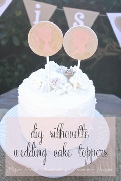 Learn how to make diy silhouette cake toppers for your handmade wedding with this step by step picture tutorial. An adorable project! Wedding Cake Toppers, Cupcake Toppers, Cupcake Cakes, Wedding Cakes, Diy Cupcake, Wedding Desserts, Cupcakes, Silhouette Wedding Cake, Silhouette Cake